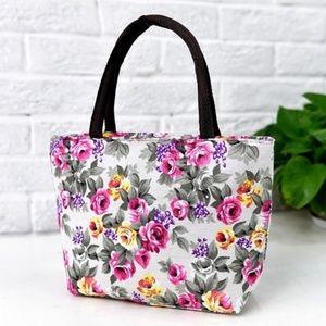 "NEW Floral Handbag Purse Tote Canvas 11"" x 7.5"""